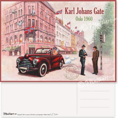 Postkort, Karl Johans Gate i Oslo