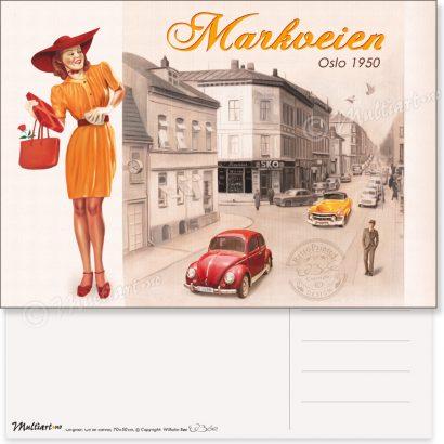 Markveien i Oslo 1950, postkort poster