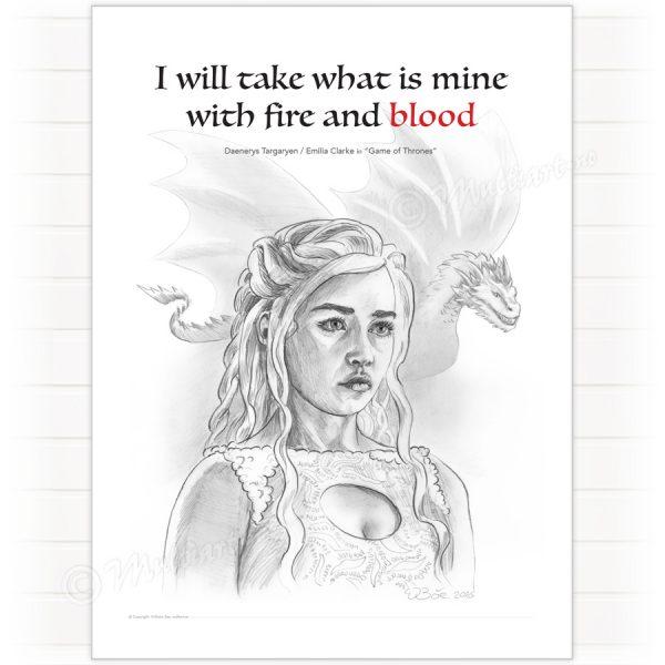"""an Art av karakteren """"Daenerys"""" spilt av Emilia Clarke i HBO serien """"Game of Thrones"""""""