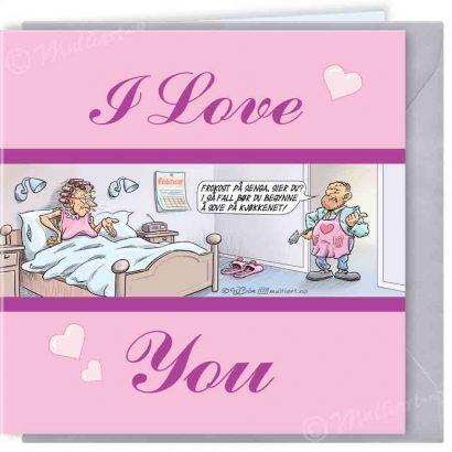 Frokost på senga. Morsdagskort og valentineskort