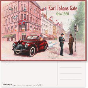 Karl Johans Gate 1960, Oslo, postkort poster