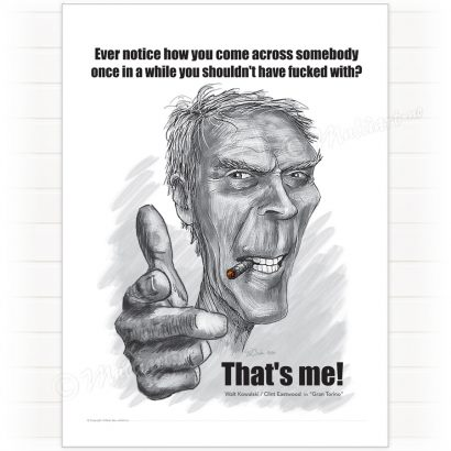Poster, Clint Eastwood caricature