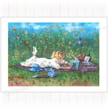 Plakat, Jente i blomstereng. Fra akrylmaleri på lerret