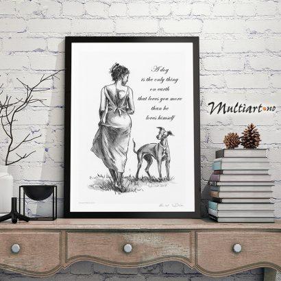 Plakat av dame og Hund. Eksempel på innramming