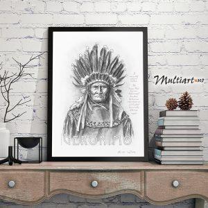 Bilde av Geronimo, Apacheindianer. Eksempel på innramming