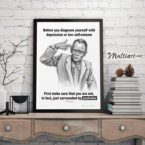 Plakat av William Ford Gibson. Eksempel på innramming
