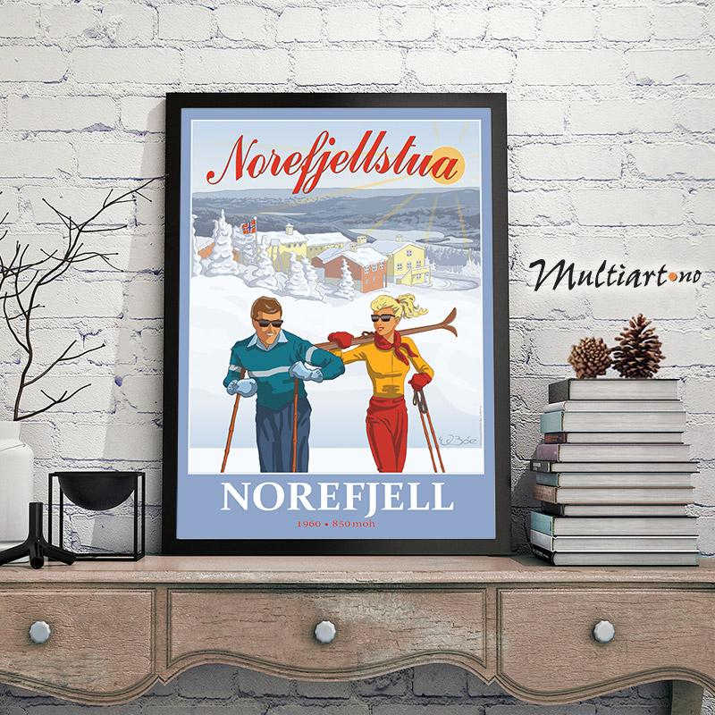 Plakat fra Norefjellstua på Norefjell. Eksempel på innramming