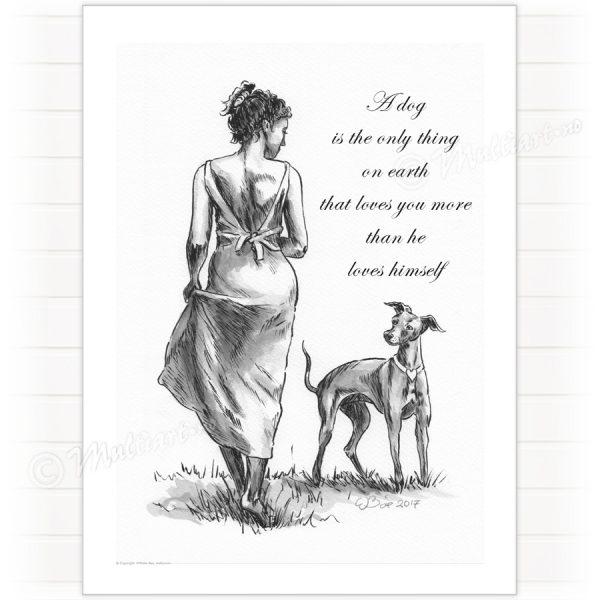 Plakat av dame og Hund