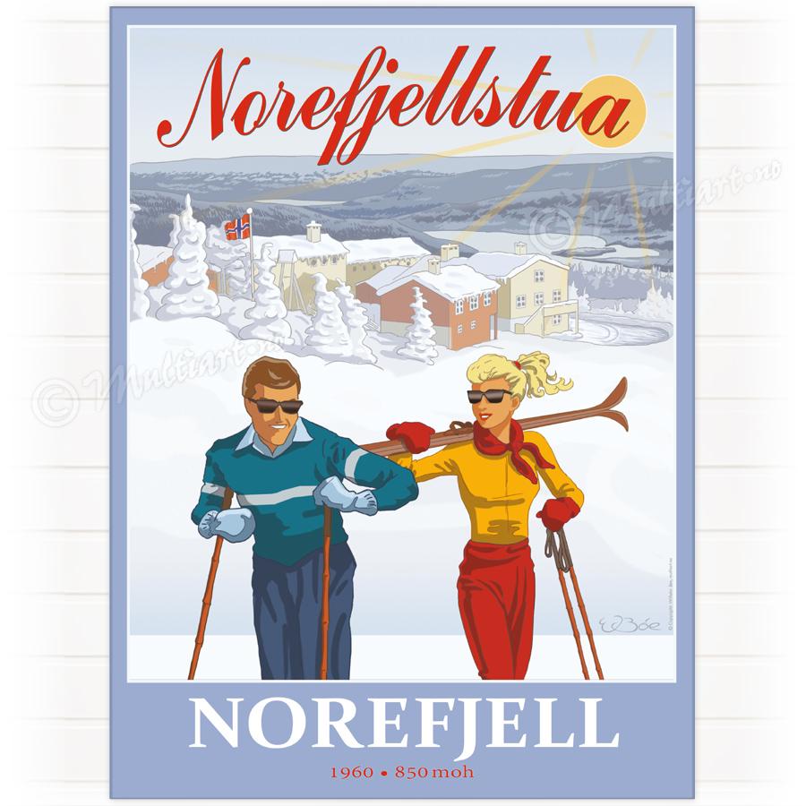 Plakat fra Norefjellstua på Norefjell