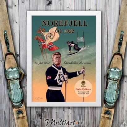 Plakat fra Norefjell med Stein Eriksen. Hvit bilderamme
