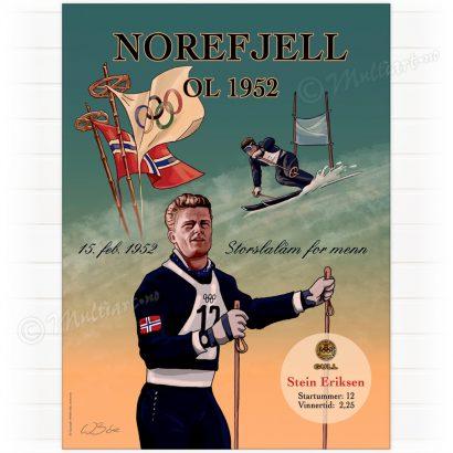 Plakat fra Norefjell med Stein Eriksen i 1952