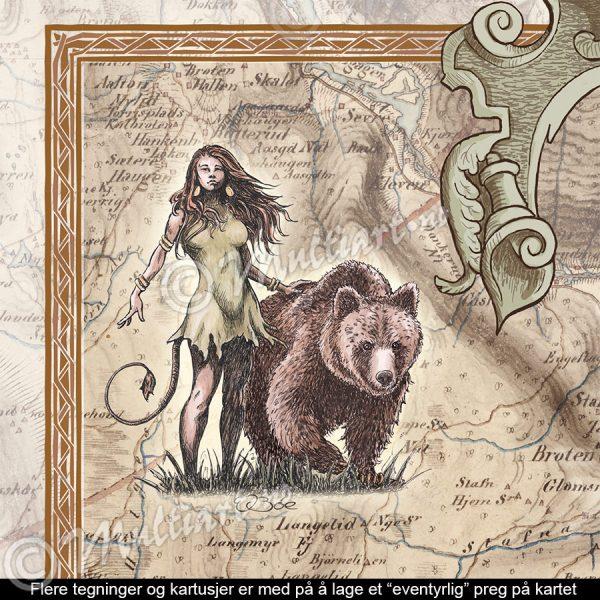 Gammelt historisk kart fra Norefjell, med eventyrlige tegninger