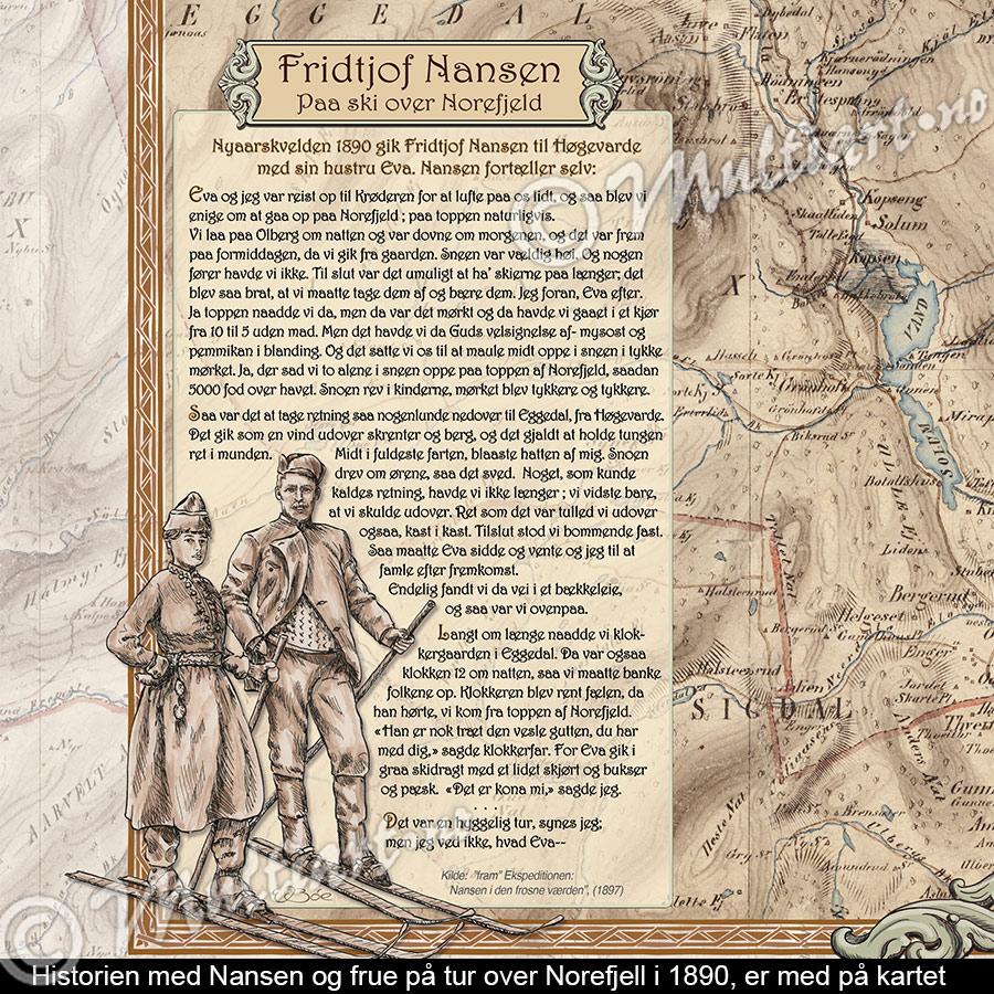 Fortellingen til Fridtjof Nansen, på skitur over Norefjell, er med