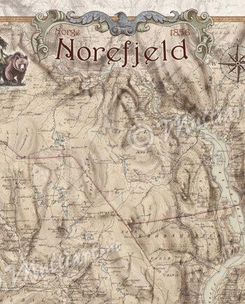 Gammelt historisk kart fra Norefjell