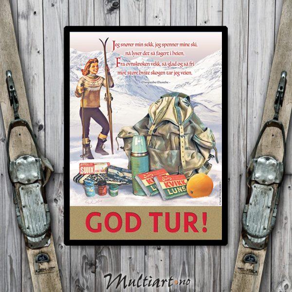 God tur - Plakat poster skiplakat av ski, tursekk og fjell.
