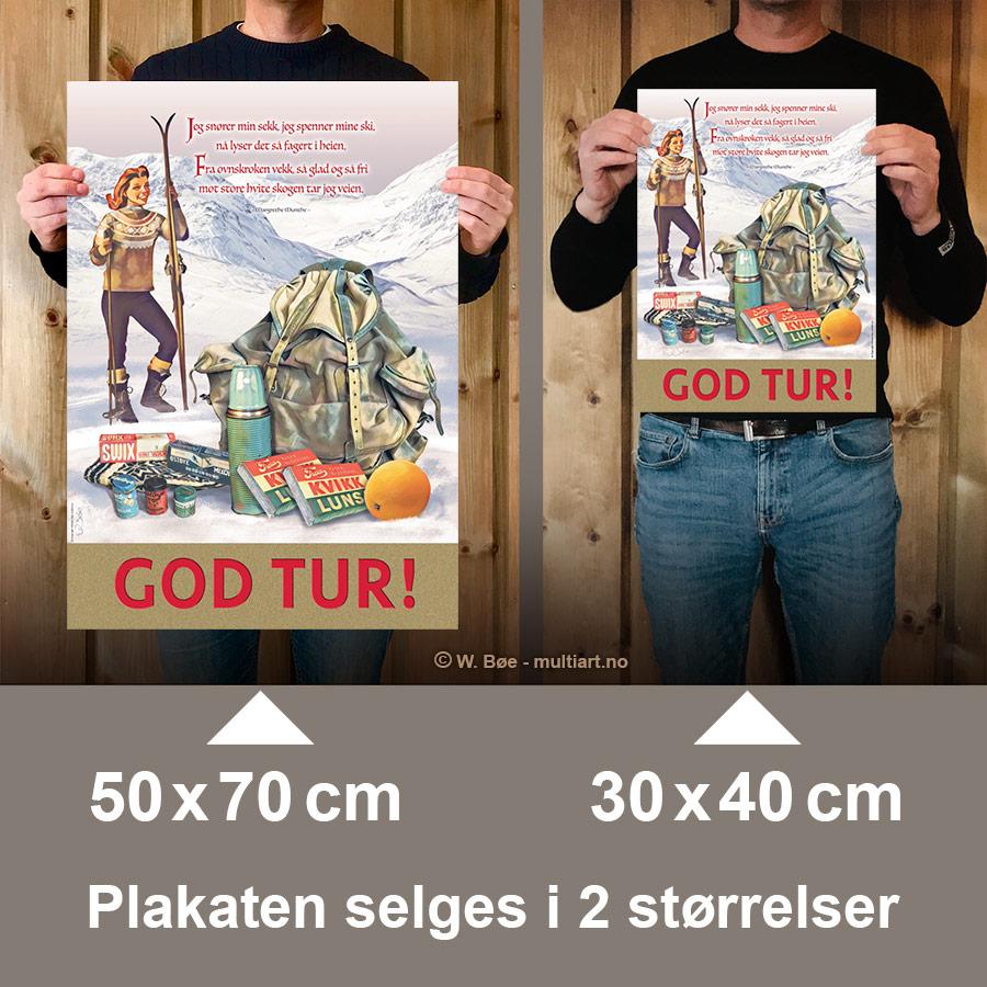 God Tur plakat finnes i to størrelser