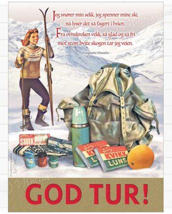 God Tur ski plakat hytte poster