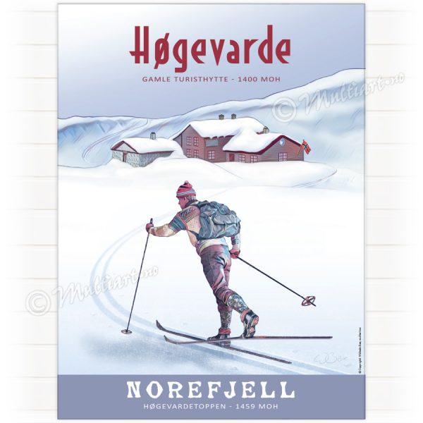 Høgevarde på Norefjell - Plakat poster skiplakat av en skiløper på Norefjell