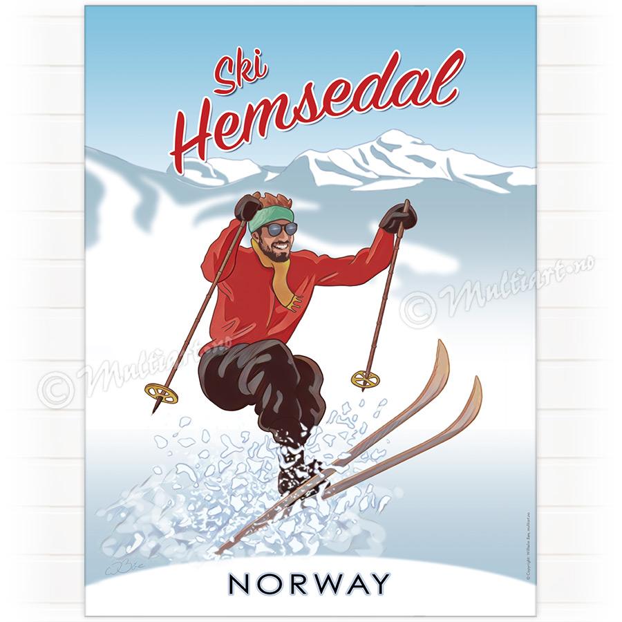 Ski Hemsedal - Plakat poster skiplakat av en skiløper på Hemsedal