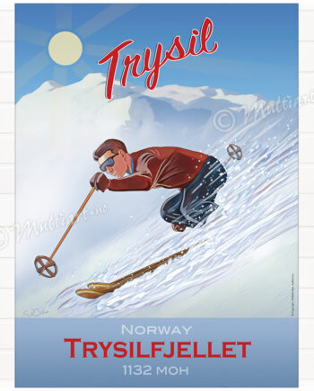 Trysilfjellet - Plakat poster skiplakat av skikjører på Trysil