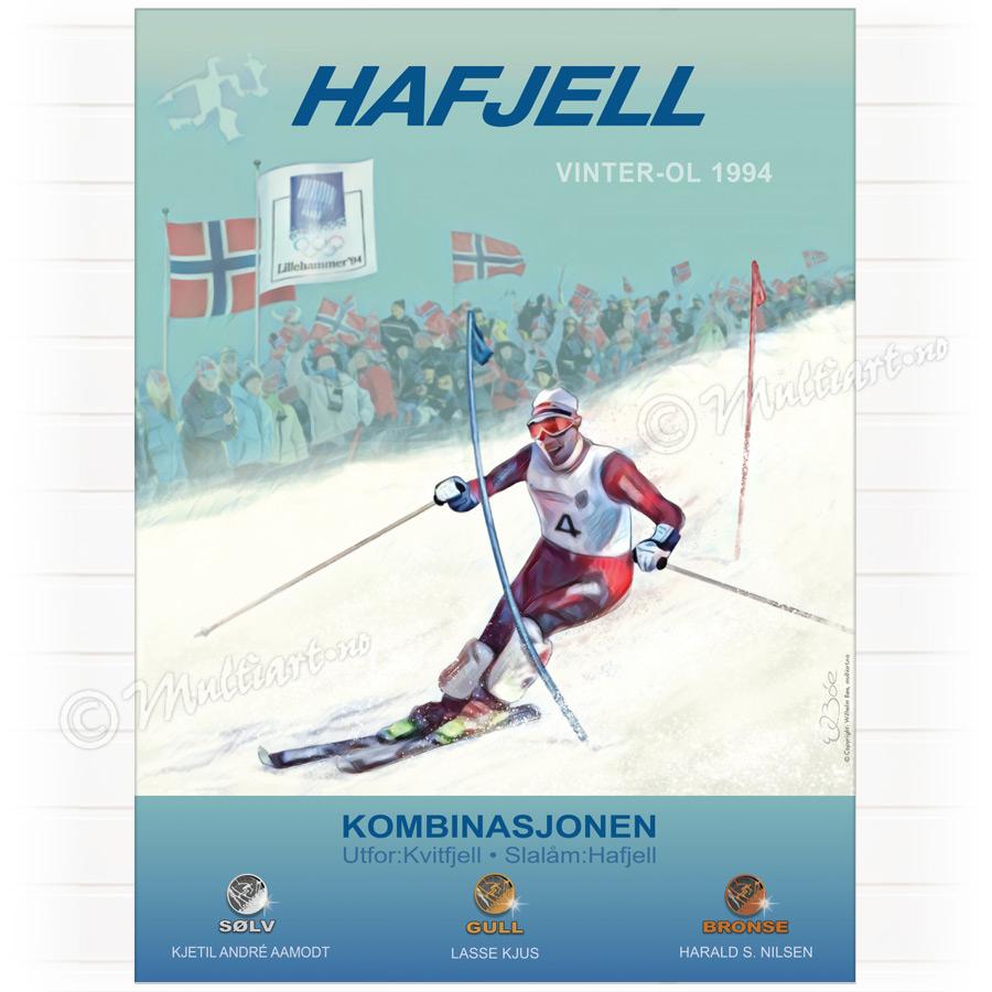Hafjell OL 1994, plakat poster med sammenlagtvinner Lasse Kjus