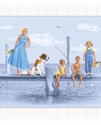 Saltkråkan. Plakat med tegning fra den svenske skjærgården