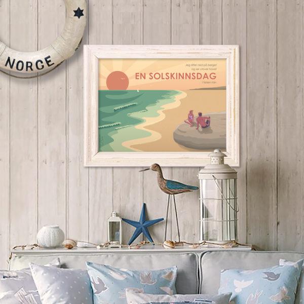Plakat med motiv fra en solskinnsdag i skjærgården.