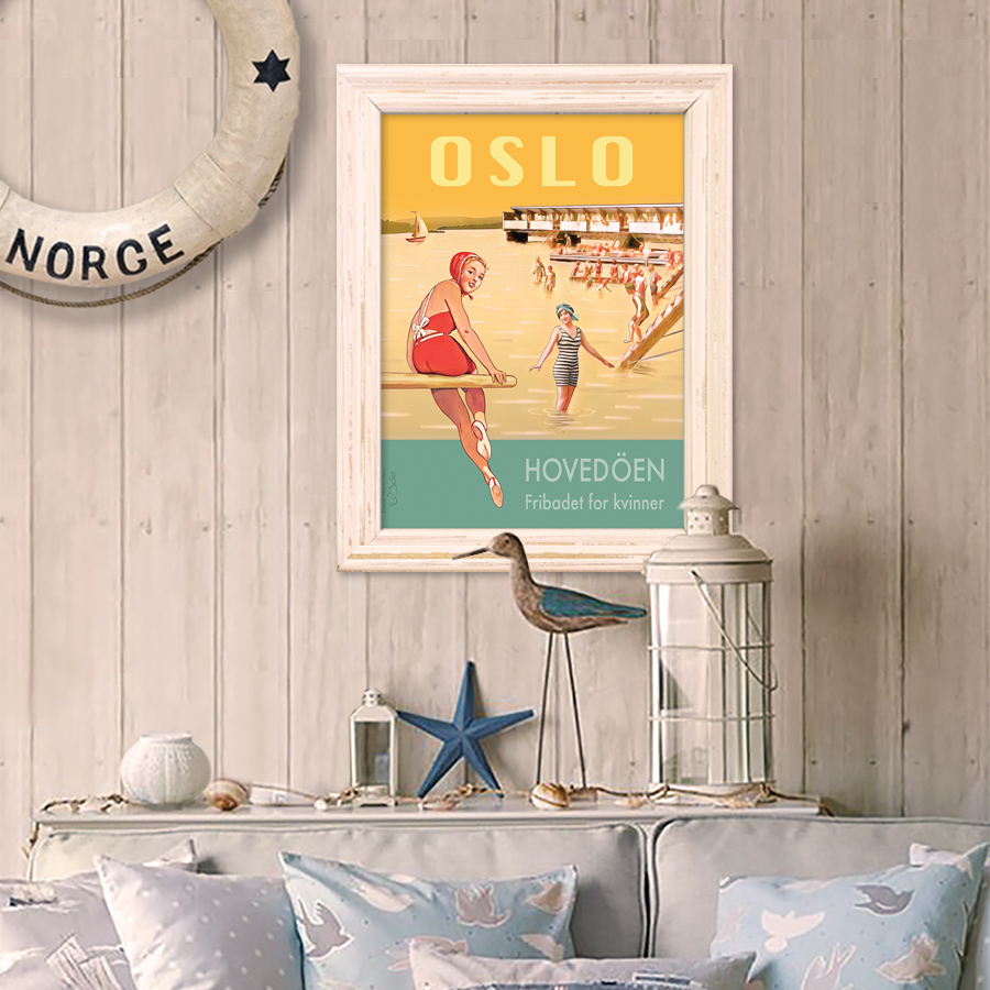 Plakat fra damebadet på Hovedøya i Oslofjorden