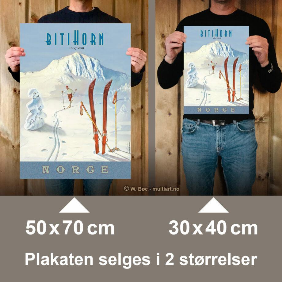 Bitihornplakaten selges i to størrelser: 30x40 og 50x70 cm.