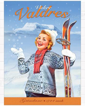 Plakat av dame med ski. Fra Valdres med fjellene Grindanane i bakgrunnen