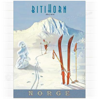 Plakat med tegning av skiløper, med fjelltoppen Bitihorn i bakgrunnen