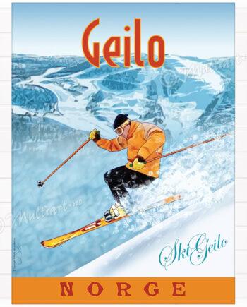 Plakat med tegning av skikjører i skianlegget SkiGeilo, i Geilo