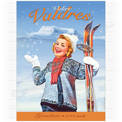 Plakat med tegning av dame med ski. Fra Valdres med fjellene Grindanane i bakgrunnen
