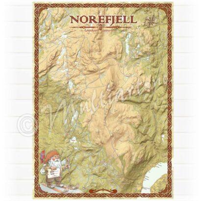 Norefjell veggkart med løypekart 2020