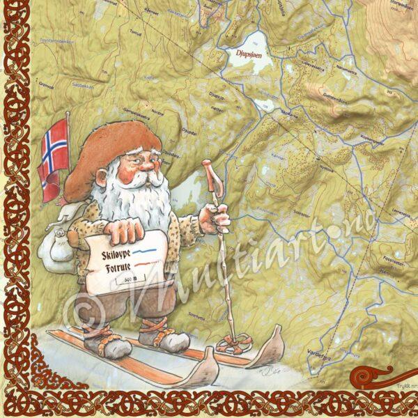 Norefjell veggkart med løypekart 2020. Nærbilde av kart med skiløyper.