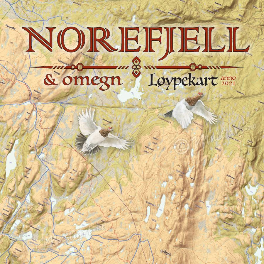 Norefjell og omegn, veggkart med løypekart 2021