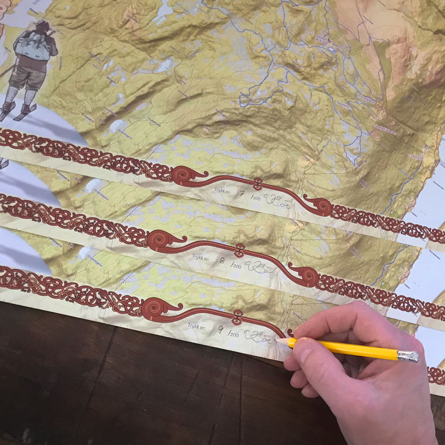 Norefjell kart. Kunsttrykk som signeres og nummereres for hånd