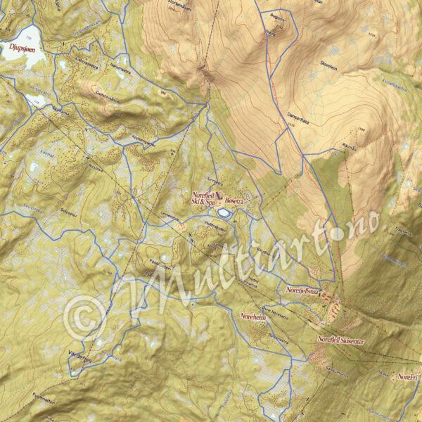 Norefjell skisenter og Djupsjøen. Norefjell og omegn, veggkart med løypekart 2021.