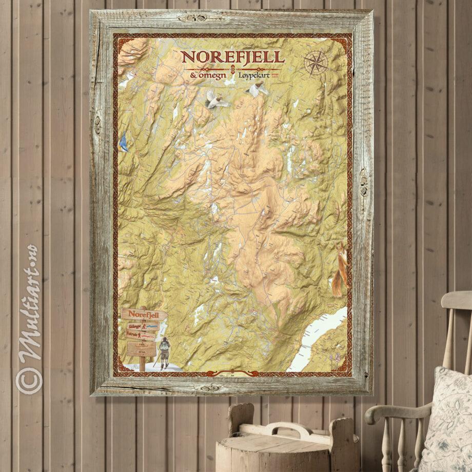 Norefjell og omegn, veggkart med løypekart. Karet måler 70 x 100 cm