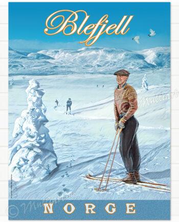 Blefjell retro ski plakat