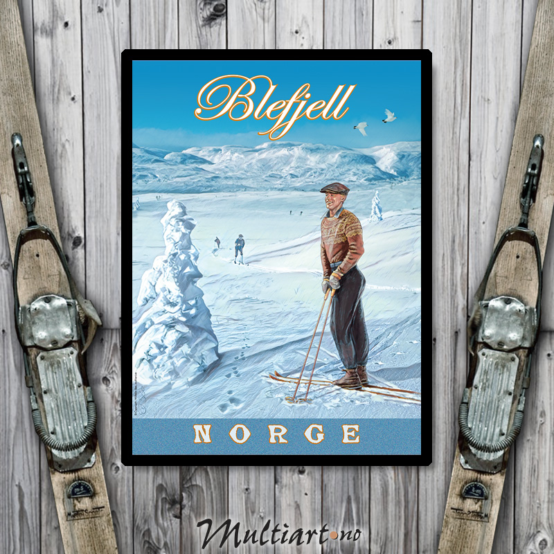 Blefjell retro ski plakat, passer fint i hytta