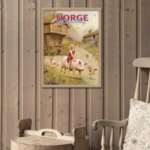 Plakat med budeie og gris, passer fint i hytta