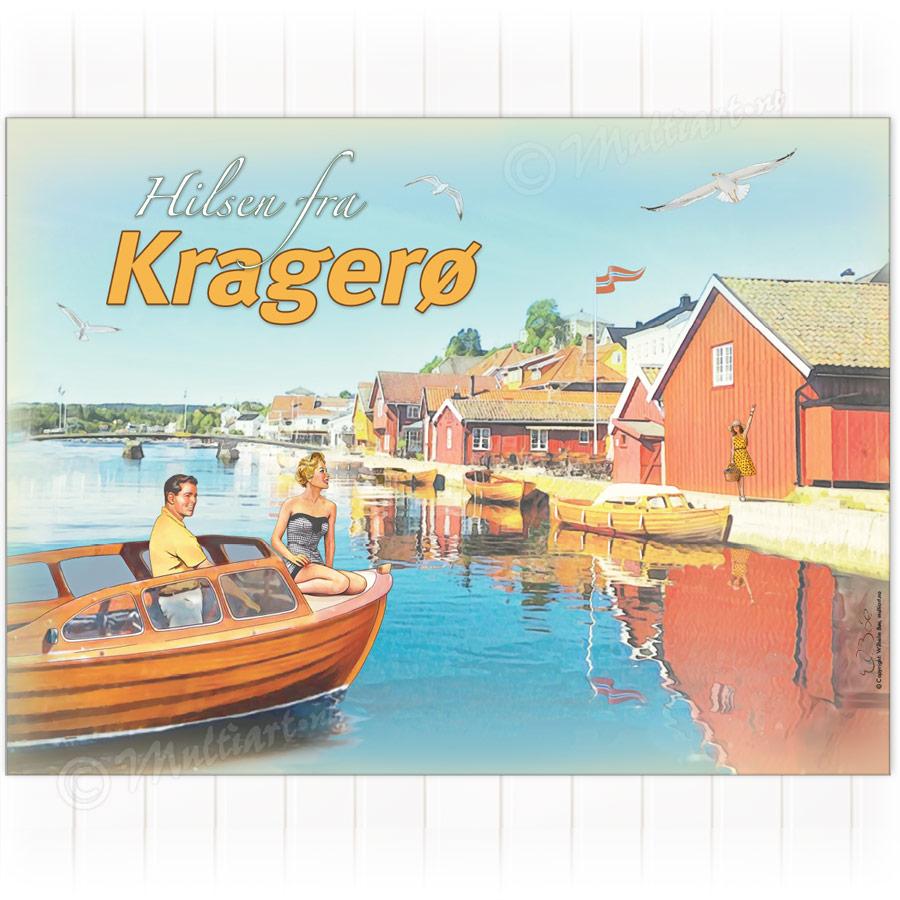 Plakat med brygga i Kragerø