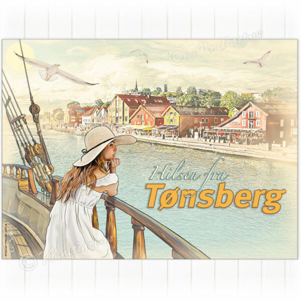 Retro plakat fra brygga i Tønsberg