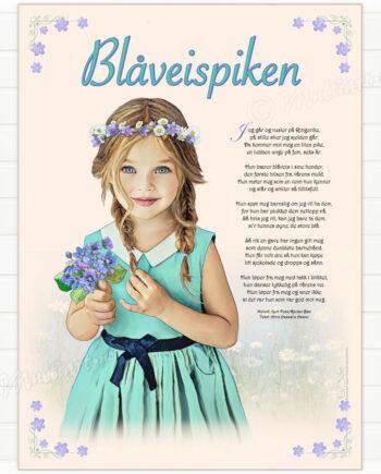 Blåveispiken plakat med tekst fra sangen