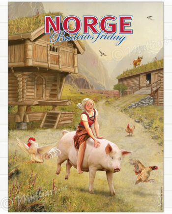 Budeias fridag, nasjonalromantisk plakat med budeie som rir på en gris