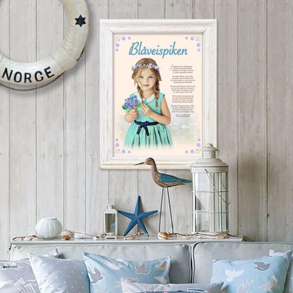 Blåveispiken plakat, sangen som passer fint i glass og ramme