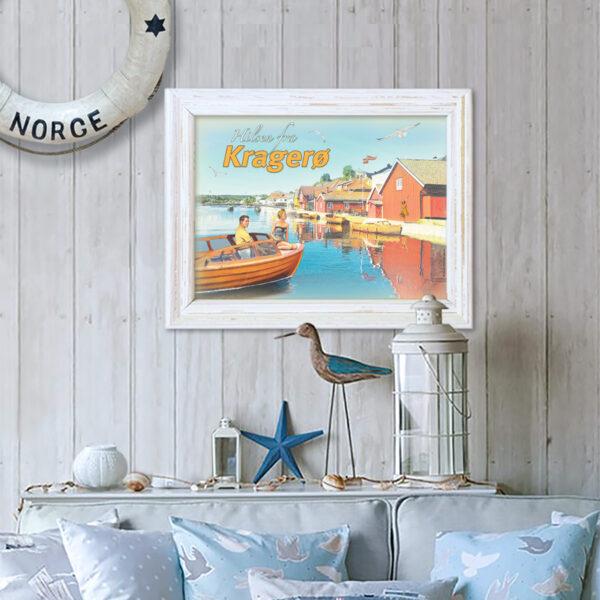 Retro plakat fra brygga i Kragerø passer fint på veggen