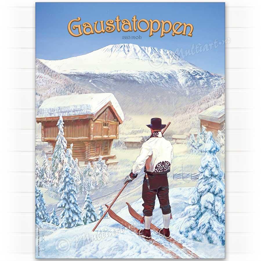Plakat poster av mann i bunad, med Gaustatoppen i Telemark i bakgrunnen